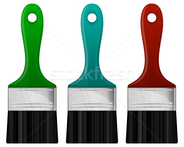Ecset szín gyűjtemény ecset munka zöld Stock fotó © zybr78
